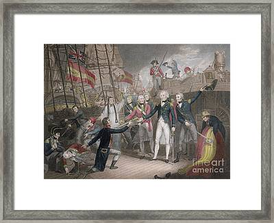 Admiral Nelson's Boarding The Two Spanish Ships, 14th February 1797 Framed Print