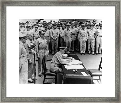 Admiral Nimitz Signing The Japanese Surrender  Framed Print by War Is Hell Store