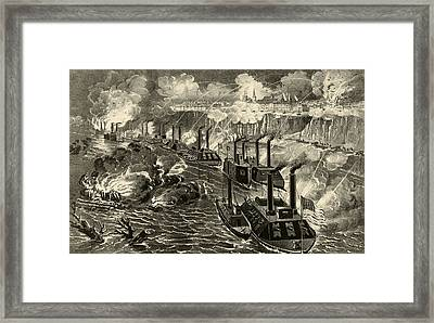 Admiral Porter's Fleet Running The Rebel Blockade Of The Mississippi At Vicksburg Framed Print