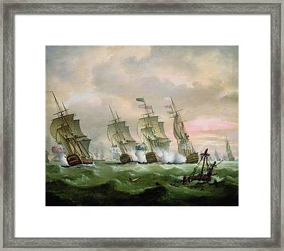 Admiral Sir Edward Hawke Defeating Admiral De Conflans In The Bay Of Biscay Framed Print by Thomas Luny