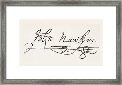 Admiral Sir John Hawkins Also Spelled Framed Print