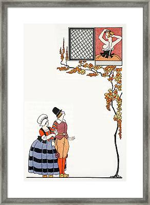 Admiration From Afar Framed Print by Georges Barbier
