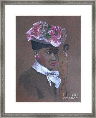 Admirer, 1947 Easter Bonnet -- The Original -- Retro Portrait Of African-american Woman Framed Print