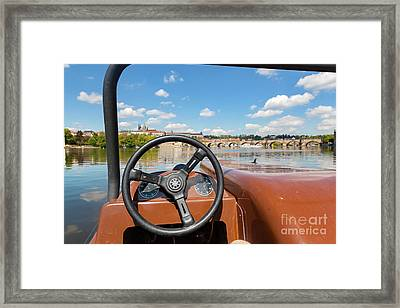 Admiring Prague From Paddle Boat On Vltava River In Prague, Czech Republic. Popular Tourist Attraction Framed Print