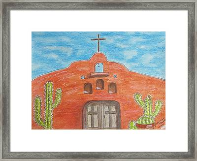 Framed Print featuring the painting Adobe Church And Cactus by Kathy Marrs Chandler