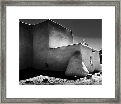 Adobe Church In B-w Framed Print