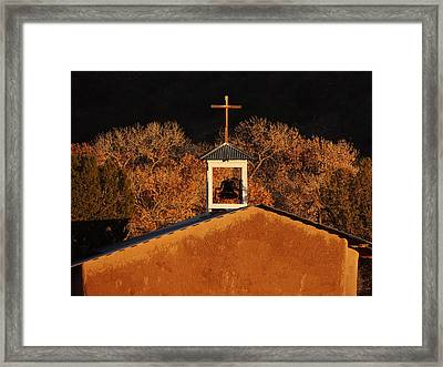 Adobe Church At San Ildefonso Pueblo In Northern New Mexico Framed Print