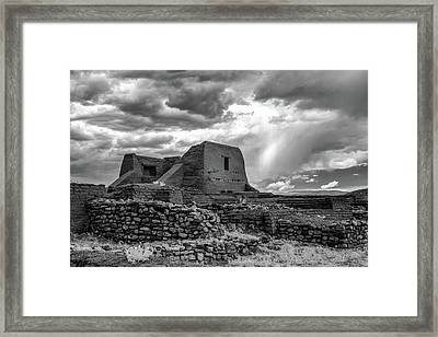 Framed Print featuring the photograph Adobe, Stones, And Rain by James Barber