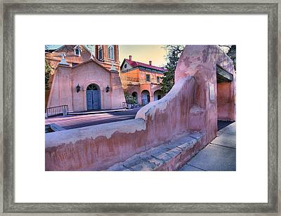 Adobe Wall And Felipe De Neri Church Framed Print by Steven Ainsworth