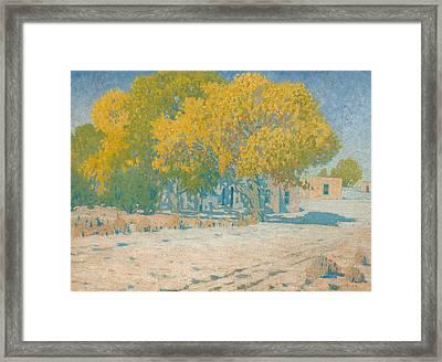 Adobes And Cottonwoods Framed Print