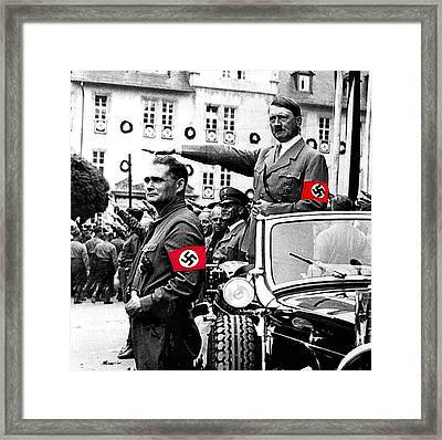 Adolf Hitler Giving The Nazi Salute From A Mercedes #3 C. 1934-2015 Framed Print