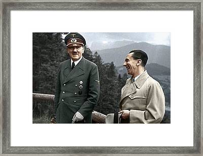 Adolf Hitler Joseph Goebbels Berghof Retreat  Number 2 Agfacolor Heinrich Hoffman Photo Circa 1942 Framed Print