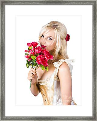 Adorable Florist Woman Smelling Red Flowers Framed Print by Jorgo Photography - Wall Art Gallery