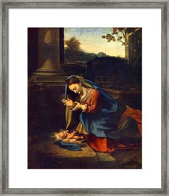 Adoration Of The Child Framed Print
