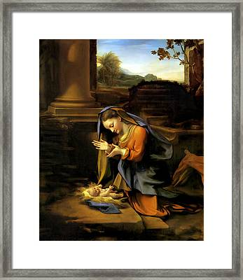 Adoration Of The Child Framed Print by Correggio