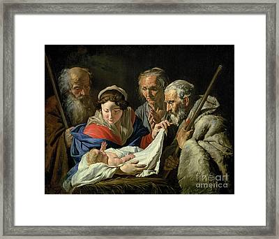 Adoration Of The Infant Jesus Framed Print