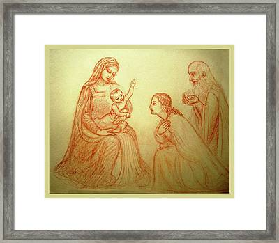 Adoration Of The Kings Framed Print by Ananda Vdovic