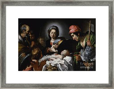 Adoration Of The Shepherds Framed Print by Bernardo Strozzi