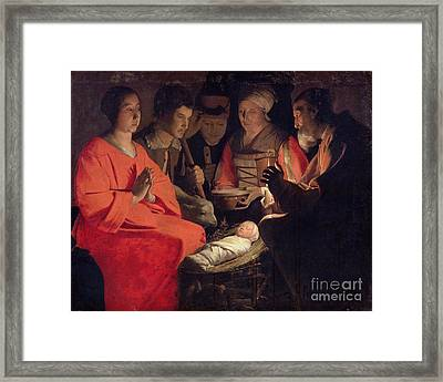 Adoration Of The Shepherds Framed Print by Georges de la Tour