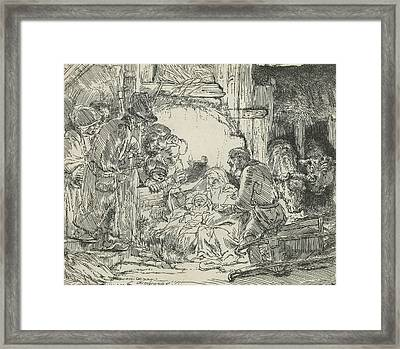 Adoration Of The Shepherds, With Lamp Framed Print by Rembrandt