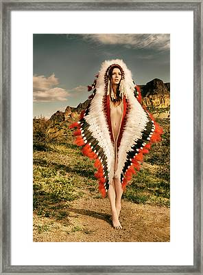 Adorned Feathered Nude Framed Print