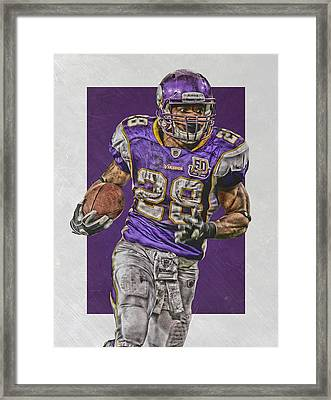 Adrian Peterson Minnesota Vikings Art 5 Framed Print by Joe Hamilton