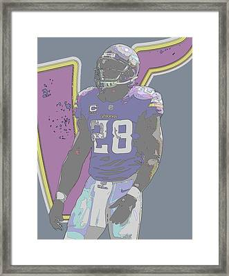 Adrian Peterson Minnesota Vikings Contour Art Framed Print by Joe Hamilton