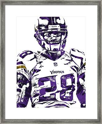 Framed Print featuring the mixed media Adrian Peterson Minnesota Vikings Pixel Art 2 by Joe Hamilton