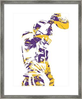 Adrian Peterson Minnesota Vikings Pixel Art 5 Framed Print by Joe Hamilton