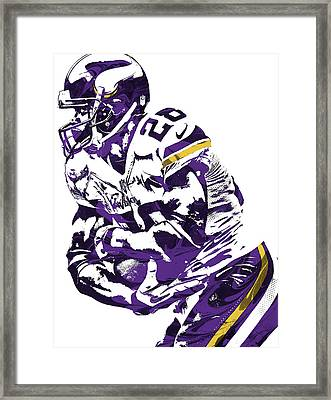 Adrian Peterson Minnesota Vikings Pixel Art Framed Print by Joe Hamilton