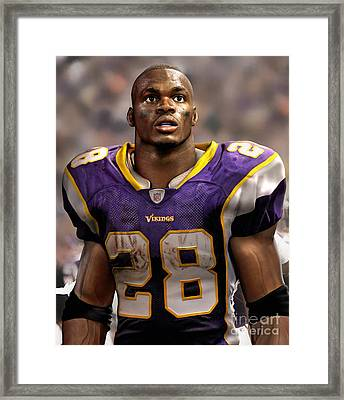 Adrian Peterson Standing Framed Print by Douglas Petty