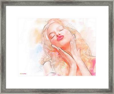 Adriana Lima Kiss Framed Print