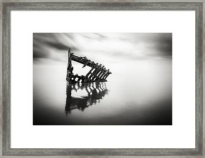 Adrift At Sea In Black And White Framed Print by Eduard Moldoveanu