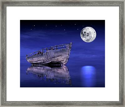 Framed Print featuring the photograph Adrift In The Moonlight - Old Fishing Boat by Gill Billington