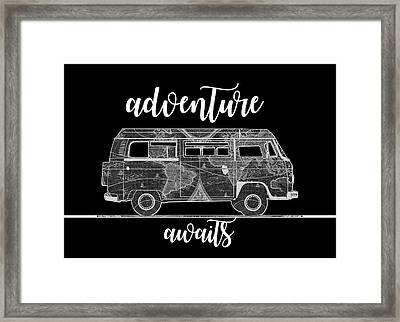 Adventure Awaits World Map Design 2 Framed Print