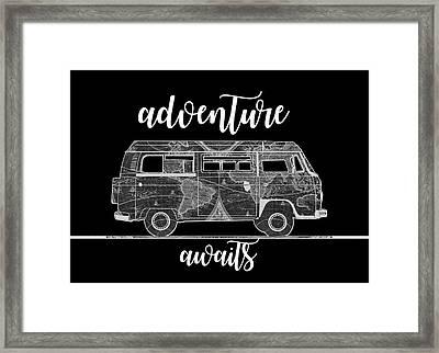 Adventure Awaits World Map Design 2 Framed Print
