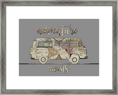 Adventure Awaits World Map Design 3 Framed Print