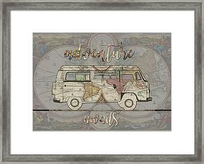 Adventure Awaits World Map Design 4 Framed Print