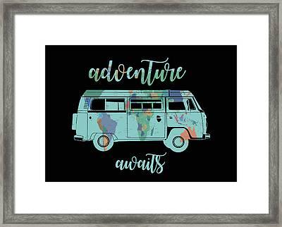 Adventure Awaits World Map Design 7 Framed Print