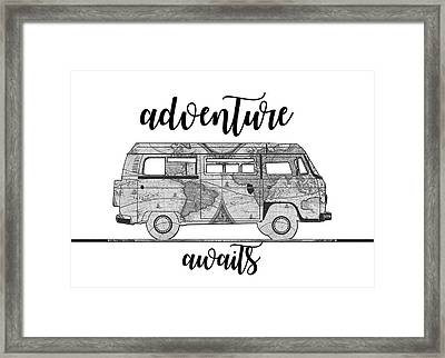Adventure Awaits World Map Design Framed Print