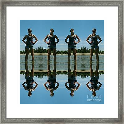 Adventure Girl Twins Reflection Of Thoughts Framed Print