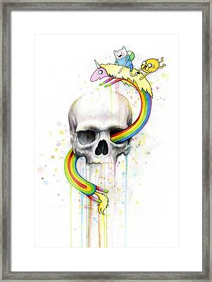Adventure Time Skull Jake Finn Lady Rainicorn Watercolor Framed Print by Olga Shvartsur