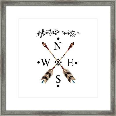 Framed Print featuring the digital art Adventure Waits Typography Arrows Compass Cardinal Directions by Georgeta Blanaru