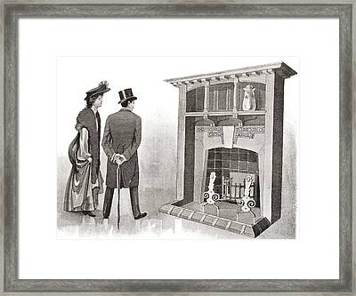 Advertisement For A Fireplace. From The Framed Print by Vintage Design Pics