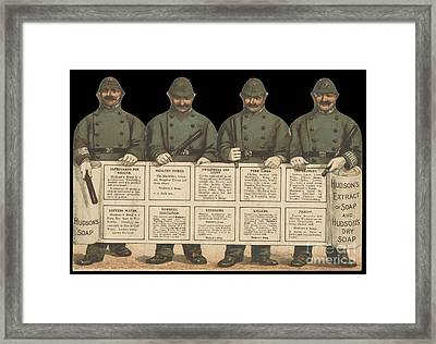 Advertisement For Hudson's Soap With Policemen Framed Print by Celestial Images
