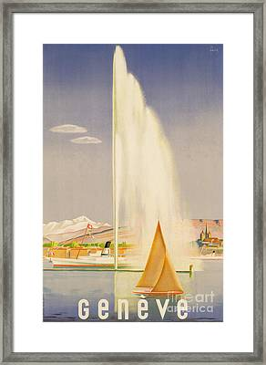 Advertisement For Travel To Geneva Framed Print by Fehr