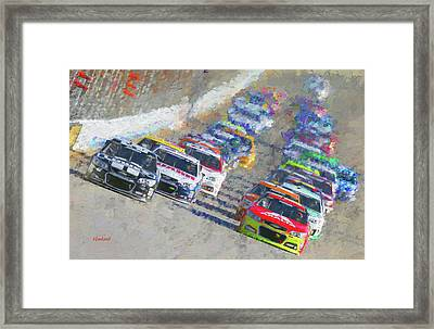 Nascar Racing Framed Print by Garland Johnson