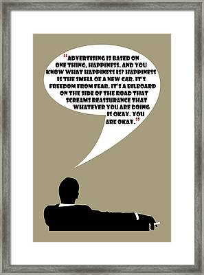 Advertising Is Happiness - Mad Men Poster Don Draper Quote Framed Print
