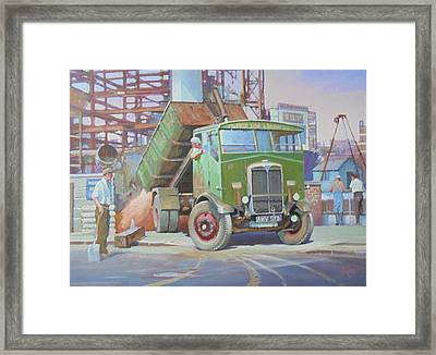 Aec Monarch On Building Site. Framed Print