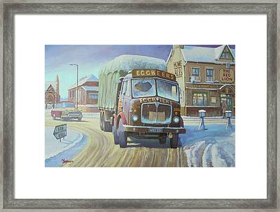 Aec Tinfront In The Snow. Framed Print